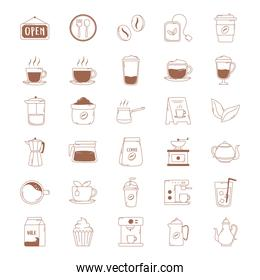 coffee icons cup kettle teapot bean machine in brown line