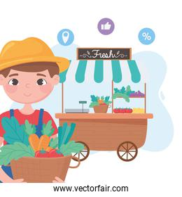 support local business, farmer with baskets and vegetable stall on the street