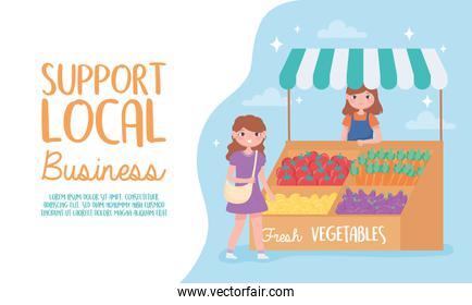 support local business, female farmer with fresh vegetables and customer
