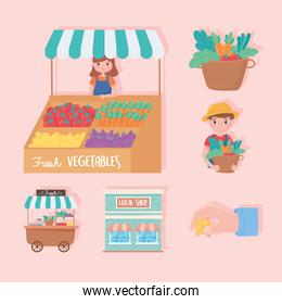 support small business, local shop farmers fresh vegetables icons