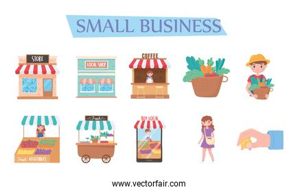 support local business, icons buy from local shops marketing