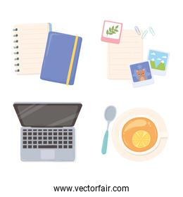 laptop notepad paper pictures and tea cup workspace office, top view design