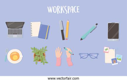 workspace laptop paper pen pencil phone glasses tea cup and potted plant office icons, top view design