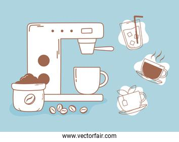 coffee espresso machine grains tea and cup line and fill