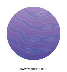 cute planet with purple lines and spots