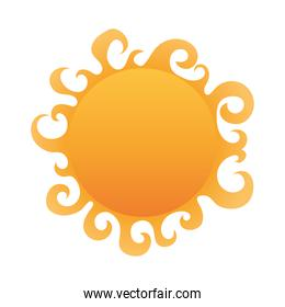cute sun on a white background