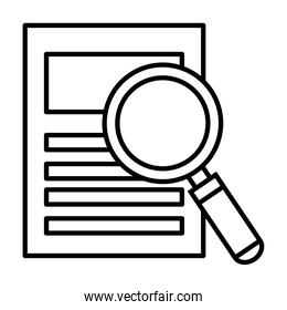 search magnifying glass with document line style icon