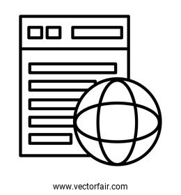 webpage template with sphere browser line style icon