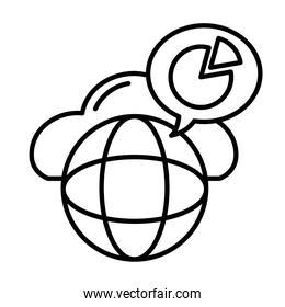 sphere browser with speech bubble and statistics pie line style icon