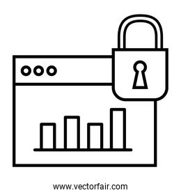 webpage template with padlock and statistics line style icon