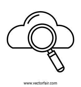 search magnifying glass with cloud computing line style icon
