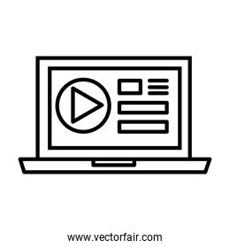 laptop with media player template line style icon
