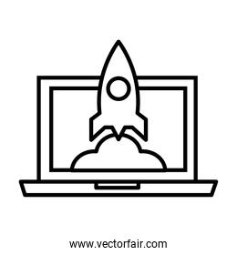 laptop with rocket launcher line style icon