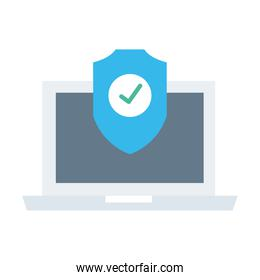 laptop with security shield flat style icon