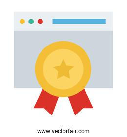webpage template with medal flat style icon