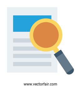 search magnifying glass with document flat style icon