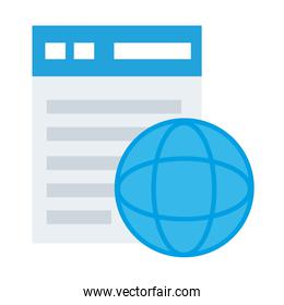 webpage template with sphere browser flat style icon