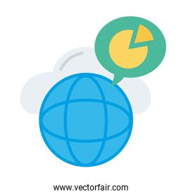 sphere browser with speech bubble and statistics pie flat style icon