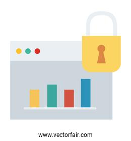 webpage template with padlock and statistics flat style icon