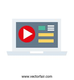laptop with media player template flat style icon