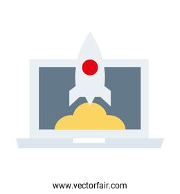 laptop with rocket launcher flat style icon