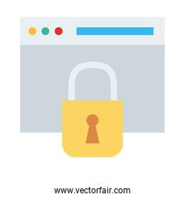 webpage template with padlock flat style icon
