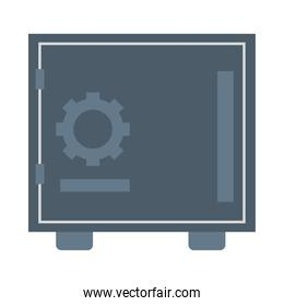 safe box banking with gear flat style icon