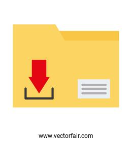 folder data file with arrow down flat style icon