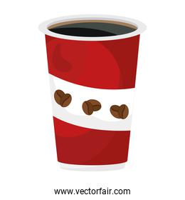 coffee plastic container red flat style icon