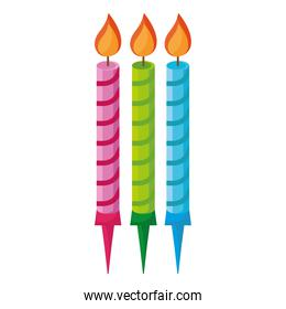 candles birthday colors set icons