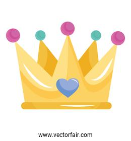 cute queen crown with heart icon