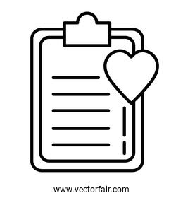heart cardiology with checklist line style icon