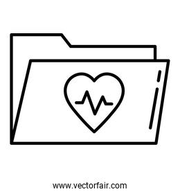 heart cardiology in folder line style icon