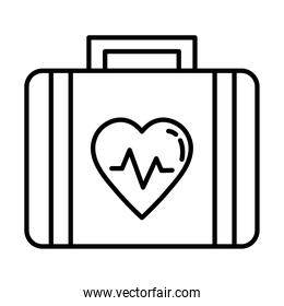 medical kit with heart cardiology line style icon