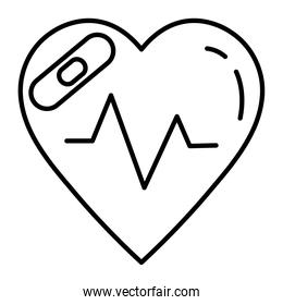 heart cardiology with cure bandage line style icon