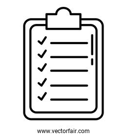 checklist clipboard line style isolated icon