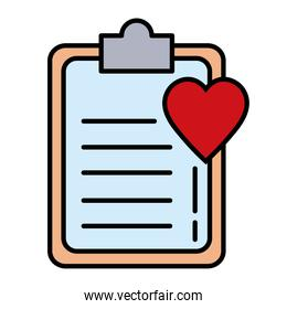 heart cardiology with checklist line and fill style icon