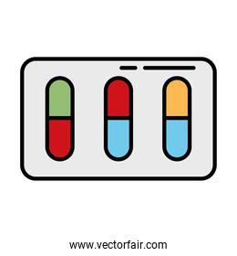 capsules medicine drugs line and fill style icon