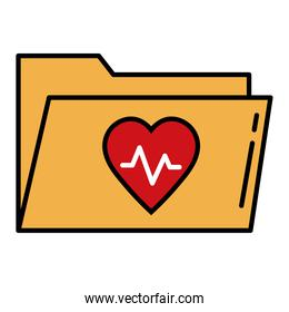 heart cardiology in folder line and fill style icon