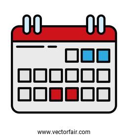 calendar reminder line and fill style icon