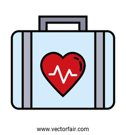 medical kit with heart cardiology line and fill style icon
