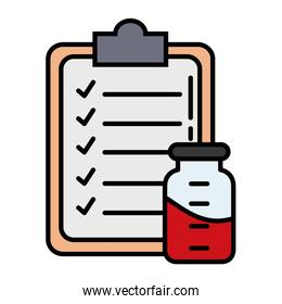 checklist with blood in bottle line and fill style