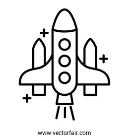 spaceship flying line style icon