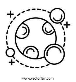 planet with three satellites orbiting around line style icon
