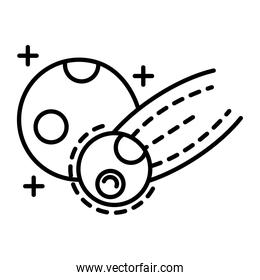 meteorite flying with moon line style icon