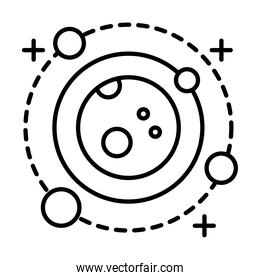 planet with four satellites orbiting around line style icon