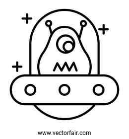 alien character in ufo line style icon