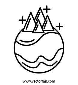 planet with mountains line style icon
