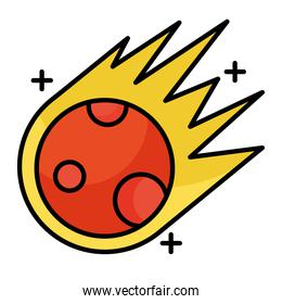 meteorite flying line and fill style icon