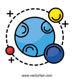 planet with three satellites orbiting around line and fill style icon